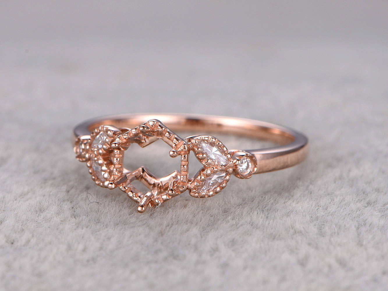 5mm Round Cut Semi Mount ring,Rose gold ring setting,14k,Floral design,hexagon Halo,Marquise diamond leaf Ring
