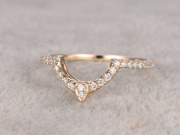 Curved wedding band,0.25ct Round Cut SI/H Diamonds,Eternity Band,Solid 14K Yellow gold,Anniversary Ring,stackable ring,matching band