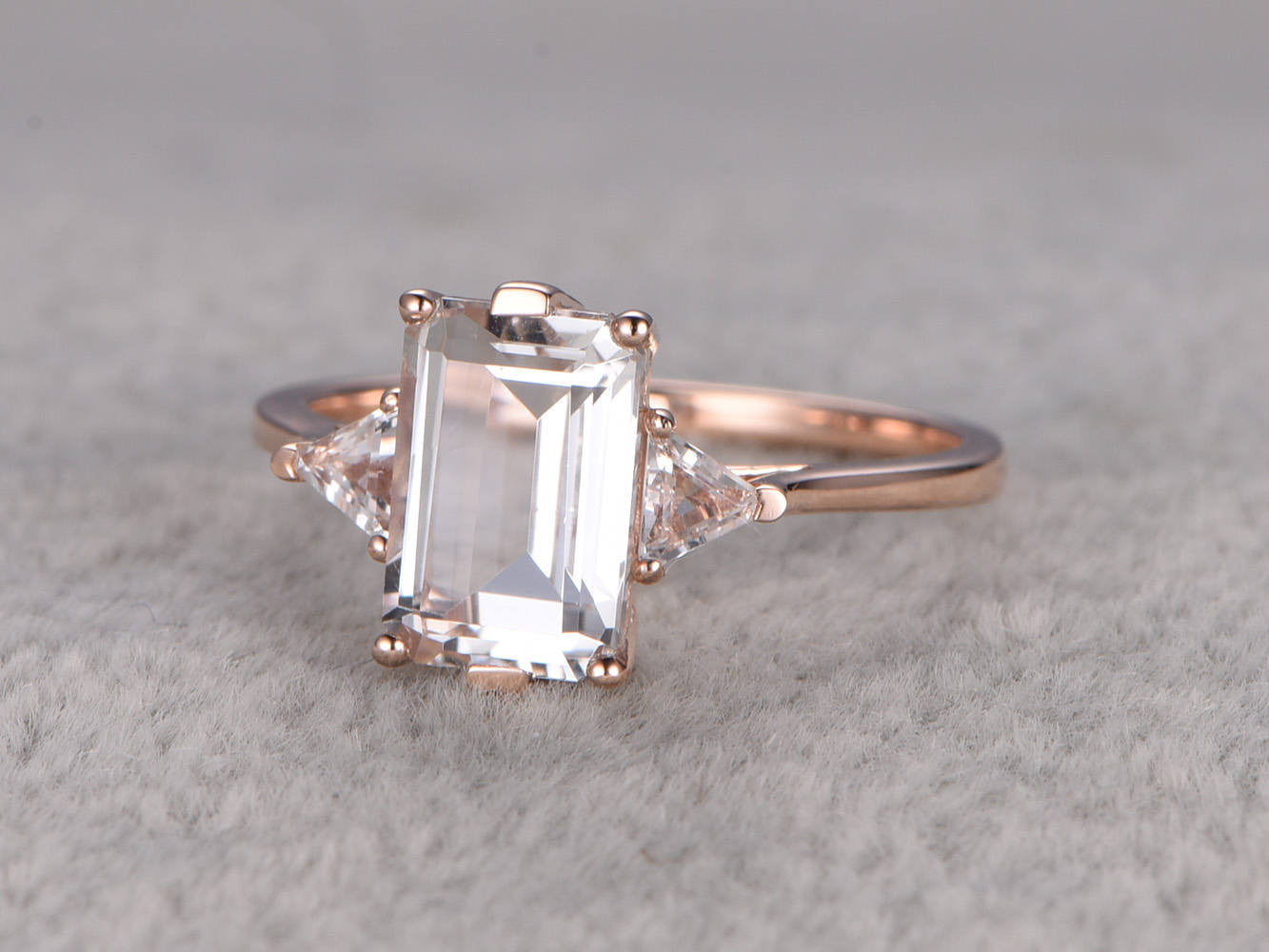 White Topaz Engagement ring,3 stone ring,6x9mm Emerald cut,14K,3mm Trillion Cut Topazs,Rose gold,Promise Ring,Bridal Ring,plain gold band