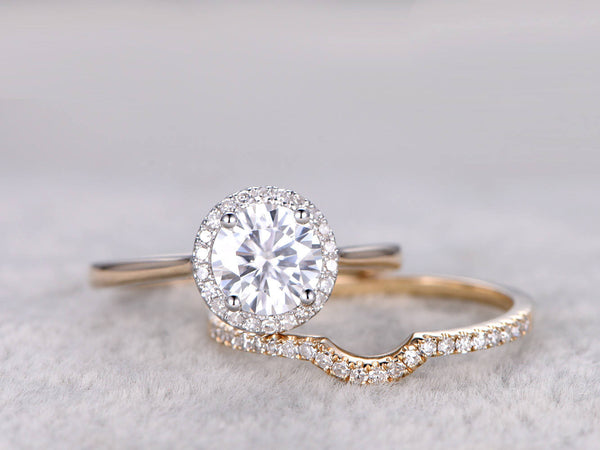 2pcs 1ct Moissanite Bridal Ring Set,Two-tone gold Engagement ring,Yellow Plain gold,Curve Diamond wedding band,6.5mm Round,14k,Promise Ring