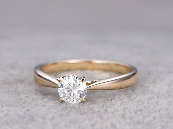 Brilliant Charles & Colvard Moissanite Engagement ring,Yellow gold,Solitaire Ring,Plain gold band,14k,5mm Round Cut,Gemstone Promise Ring