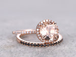 2 Morganite Bridal Set,Engagement ring Rose gold,Black Diamond wedding band,14k,7mm Round Cut,Gemstone Promise Ring,Claw Prongs,Pave Set