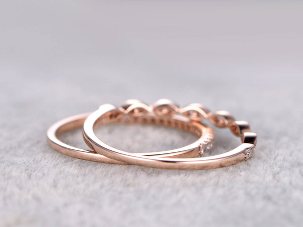 2pcs Half Eternity Wedding Band,Diamond ring,Solid 14K Rose gold,Anniversary Ring,Art deco Marquise style,stacking,milgrain,Matching band