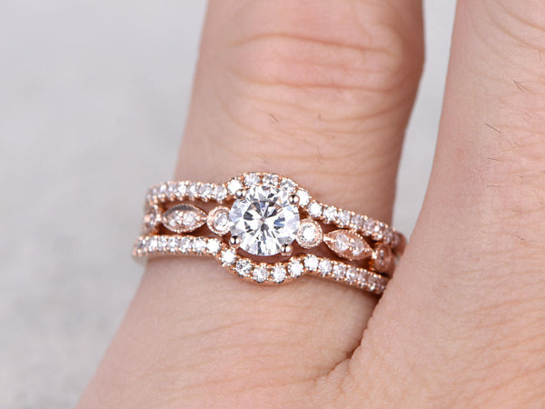 3pcs Moissanite Bridal Set,Engagement ring Rose gold,Diamond wedding band,5mm Round stone Promise Ring,Curve Matching Band,Art Deco,Milgrain