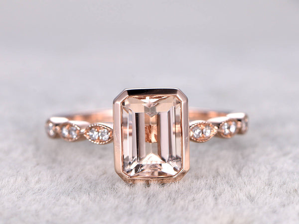 6x8mm Morganite Engagement ring Rose gold,Diamond wedding band,14k,Emerald Cut,Gemstone Promise Bridal Ring,Art Deco band,Bezel Set