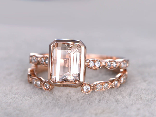 2pc 6x8mm Morganite Engagement ring set Rose gold,Diamond wedding band,14k,Emerald Cut,Bridal Ring,Art Deco Open Matching band,Milgrain Ring