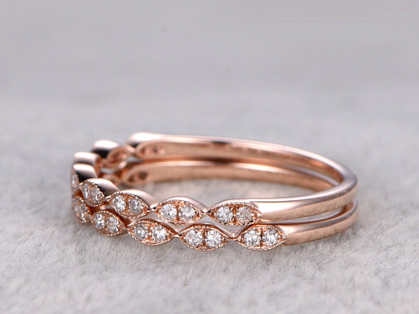 2pcs Half Eternity Wedding Band,Diamond ring,Solid 14K Rose gold,Anniversary Ring,Art deco Marquise Ring,stacking,milgrain,Matching band