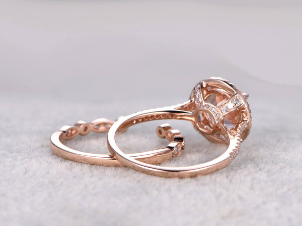 2pcs Bridal Ring Set,Morganite Engagement ring Rose gold,Diamond wedding band,14k,8mm Round Cut,Gemstone Promise Ring,Art Deco Eternity Band