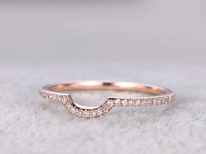 Diamond Wedding Ring,Solid 14K Rose gold,Full Eternity,Anniversary Ring,Stacking ring,Natural Gemstone,Curved matching band,micro pave set