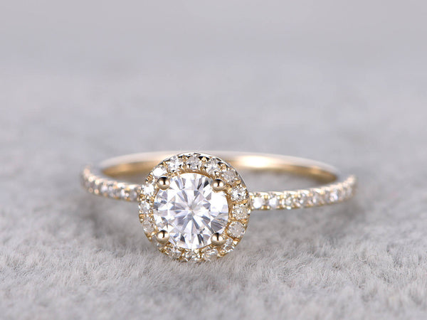 brilliant Moissanite Engagement ring Yellow gold,Diamond wedding band,14k,5mm Round Cut,Gemstone Promise Bridal Ring,Anniversary,halo
