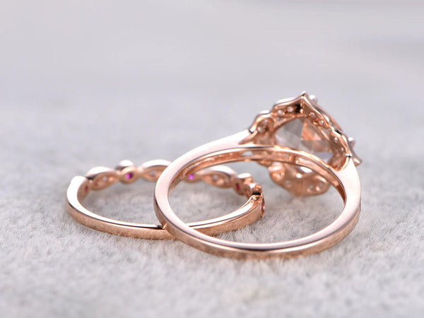 2pcs Morganite Bridal Ring Set,Engagement ring Rose gold,Ruby and Diamond wedding band,14k,7mm Cushion Cut,Retro Vintage Floral,Art Deco