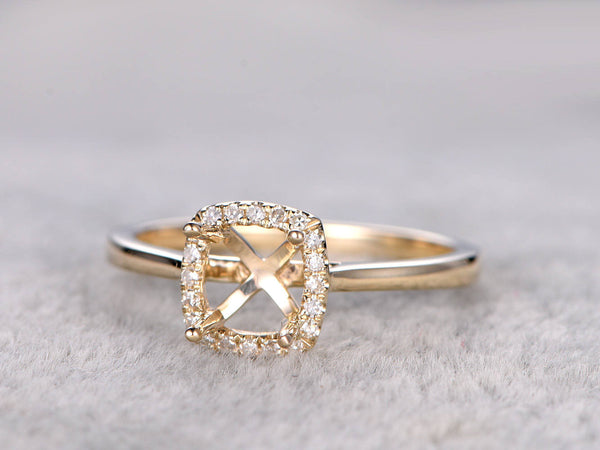 Semi Mount ring,Yellow gold ring setting,14k,Diamond halo,Plain gold band,Solitaire ring setting,Prong set,6x6mm Cushion Cut  Stone
