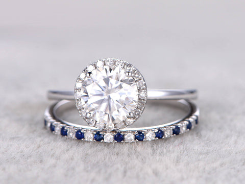 2pcs Moissanite Bridal Ring Set,Engagement ring White Plain gold,Ultra Thin Diamond wedding band,Sapphire,6.5mm Round stone Promise Ring,14K