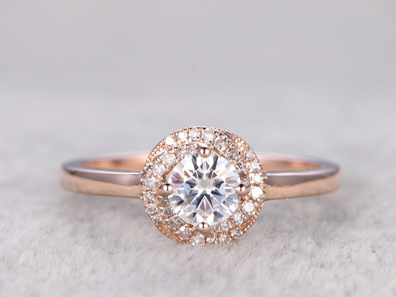 brilliant Moissanite Engagement ring Rose gold,Plain gold band,Diamond floral halo,14k,5mm Round,Gemstone Promise Bridal Ring,Anniversary