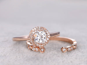 2 Bridal Set,Moissanite Engagement ring,Unique Diamond wedding band,14k,5mm Round Cut,Gemstone Promise Ring,plain gold band,Floral halo