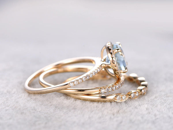 3 Aquamarine Ring Bridal Set,Engagement ring Yellow gold,Diamond wedding band,14k,7mm Round Cut,Blue Gemstone Promise Ring,Matching Band