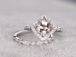 Vintage floral topaz engagement ring 7mm cushion cut natural white topaz diamond wedding band solid 14k white gold
