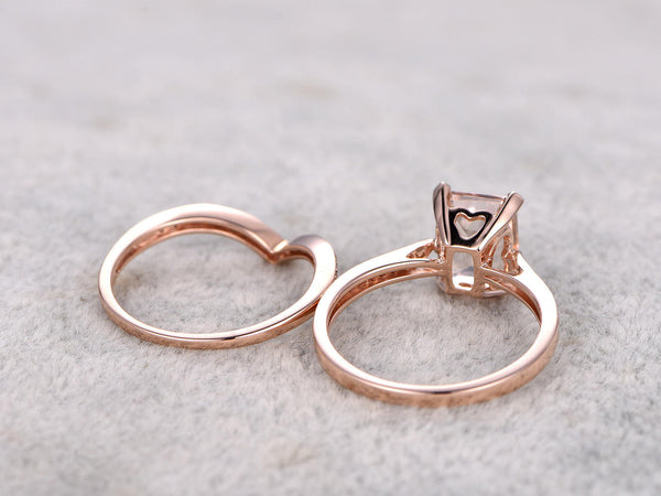 2pcs Bridal Ring Set,Solitaire Morganite Engagement ring Rose gold,Curve Diamond wedding band,14k,7x9mm Emerald Cut Gemstone,V matching band