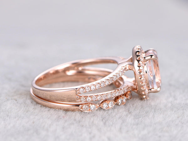 2pcs Bridal set,7x9mm Morganite Engagement ring rose gold,Diamond wedding band,14k,Oval Cut,Gemstone Promise Ring,Split shank,Art deco band