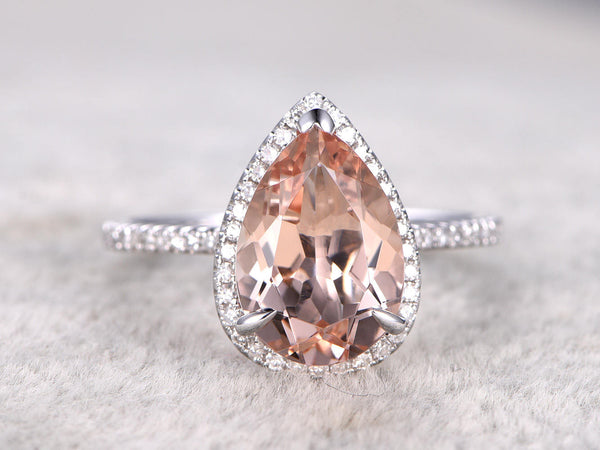 BIG 8x12mm Morganite Engagement ring White gold,Diamond wedding band,14k,Pear Shaped Cut,Gemstone Promise Bridal Ring,Claw Prongs,V-tip