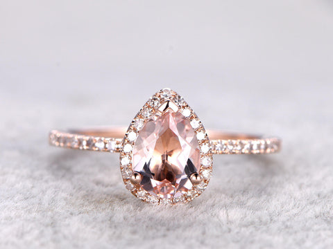 6x8mm Pear Cut Morganite Engagement ring Rose gold,Diamond wedding band,14k,Pear Shaped,Gemstone Promise Bridal Ring,Halo,V-tip,Pave