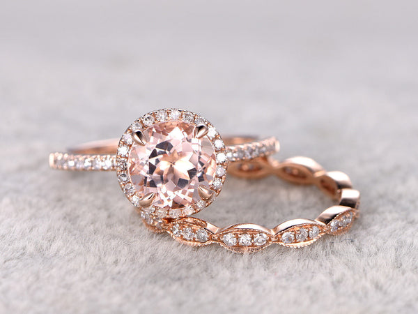 2 Morganite Bridal Set,Engagement ring Rose gold,Diamond wedding band,Art Deco,14k,7mm Round Cut,Gemstone Promise Ring,Claw Prongs,Pave Set