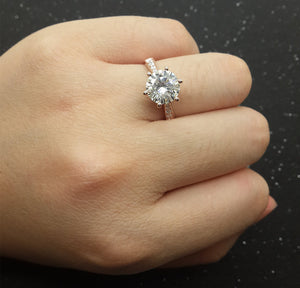 Custom made 1ct Brilliant Moissanite Engagement ring White gold,Diamond wedding band,14k,Round Cut,Gemstone Promise Ring,Bridal,6-Prongs