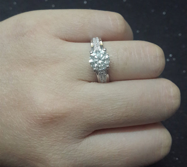 1ct Brilliant Moissanite Engagement ring White gold,Diamond wedding band,14k,Round Cut,Gemstone Promise Ring,Charles & Colvard,Fine Ring