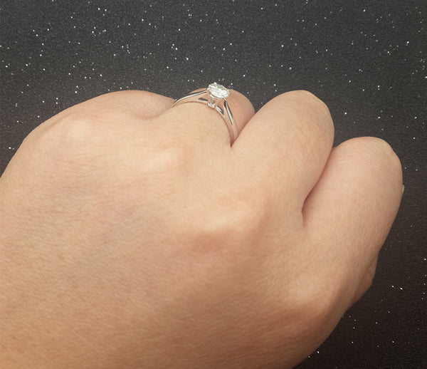Brilliant Charles & Colvard Moissanite Engagement ring White gold,Solitaire,Plain gold wedding band,14k,Round Cut,Gemstone Promise Ring