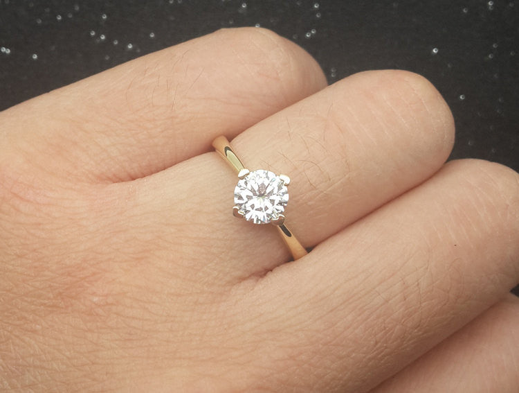 Brilliant Charles & Colvard Moissanite Engagement ring Yellow gold,Solitaire,Plain gold wedding band,14k,Round Cut,Gemstone Promise Ring