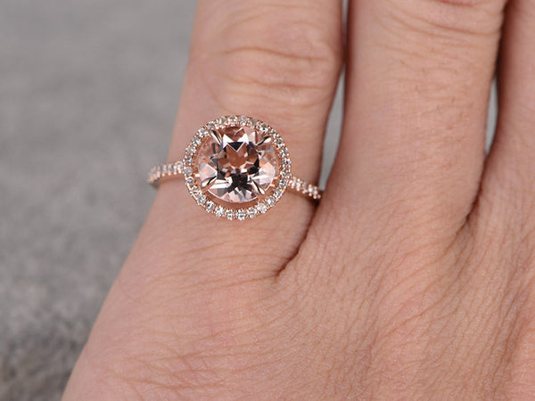 8mm Morganite Engagement ring Rose gold,Diamond wedding band,14k,Round Cut,Gemstone Promise Bridal Ring,Claw Prongs,Pave Set,Handmade
