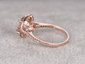 9mm Morganite Engagement ring White/Rose gold,Diamond wedding band,14k,Round Cut,Gemstone Promise Bridal Ring,Claw Prongs,Pave Set,Handmade