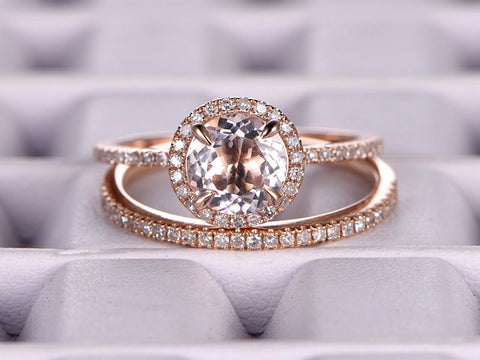 2 Morganite Bridal Set,Engagement ring Rose gold,Diamond wedding band,14k,7mm Round Cut,Gemstone Promise Ring,Claw Prongs,Pave Set,Handmade