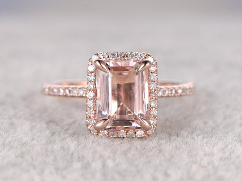 6x8mm Morganite Engagement ring Rose gold,Diamond wedding band,14k,Emerald Cut,Gemstone Promise Bridal Ring,Claw Prongs,Custom made setting