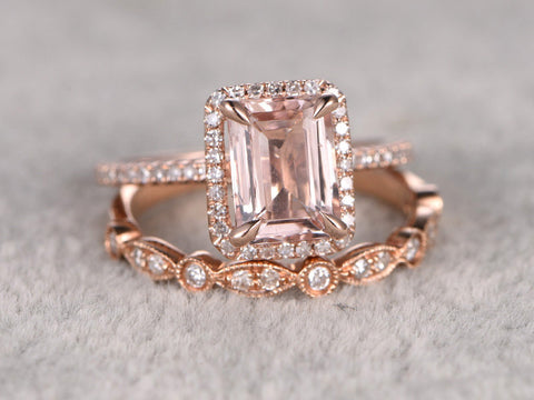 2pc 7x9mm Morganite Bridal Set,Engagement ring Rose gold,Diamond wedding band,14k,Emerald Cut,Gemstone Promise Ring,Claw Prongs,Art Deco