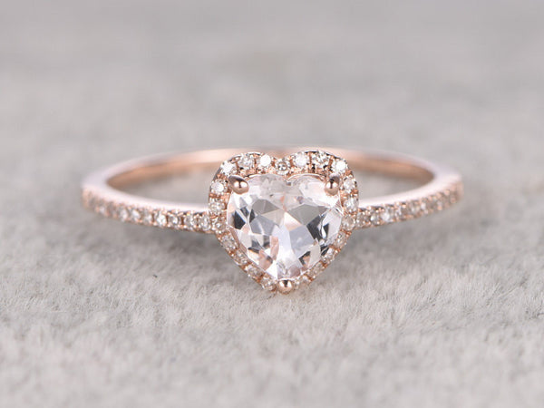 6mm Morganite Engagement ring Rose gold,Diamond wedding band,14k,Heart Shaped Cut,Gemstone Promise Bridal Ring,Pave,Halo,custom made setting