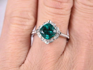 7mm Cushion Emerald Engagement ring White gold,Diamond wedding band,Promise Ring,Bridal Ring,Retro Vintage Floral,Lab-Treated Green Emerald