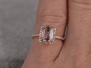 5x7mm Morganite Engagement ring Rose gold,Diamond wedding band,14k,Emerald Cut,Gemstone Promise Bridal Ring,Claw Prongs,Custom made setting
