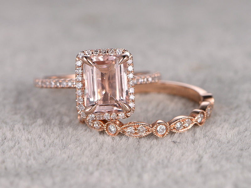 2 Morganite Bridal Set,Engagement ring Rose gold,Diamond wedding band,14k,6x8mm Emerald Cut,Gemstone Promise Ring,Claw Prongs,Pave,Art Deco