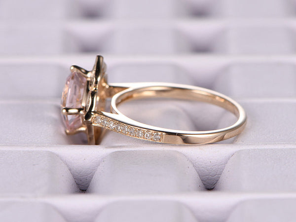 Custom order for special customer:semi mount to accommodate a stone (6.07 - 6.04 x 3.85 mm),size 5,14k rose gold.