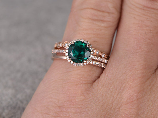 3pcs Emerald Engagement ring Set!14k rose gold,Diamond wedding band,7mm Round Cut,Bridal Ring,Retro Vintage,Art Deco,Lab-Treated Green stone