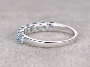 Topaz Wedding Band,Solid 14K White gold,Anniversary Ring,Eternity Ring,Engagement stacking ring,Prong Set,Valentine's Gift,Swiss Blue topaz