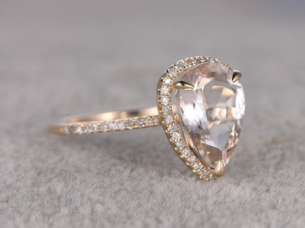 BIG 8x12mm Morganite Engagement ring Yellow gold,Diamond wedding band,14k,Pear Shaped Cut,Gemstone Promise Bridal Ring,Claw Prong,Halo ring