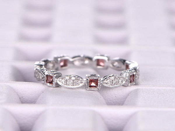 Natural Garnet and Diamond,Full Eternity Wedding Ring,Solid 14K White gold,Anniversary Ring,Art deco,stacking,milgrain,Retro vintage Unique
