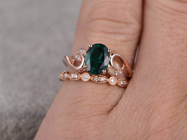 2pcs Emerald Engagement ring Set!14k rose gold,Diamond wedding band,6x8mm Oval Cut,Bridal Ring,Floral leaf,Art Deco,Lab-Treated Green stone