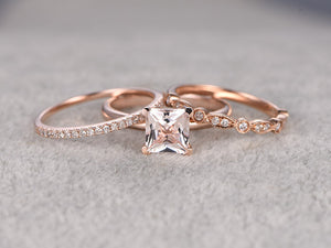 3pcs Morganite Bridal Ring Set,Engagement ring Plain Rose gold,Diamond wedding band,14k,5mm Princess Cut,Gemstone Promise Ring,Art Deco Band