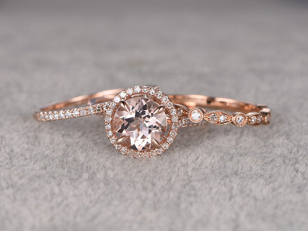 3pcs Morganite Bridal Ring Set,Engagement ring Rose gold,Diamond wedding band,14k,8mm Round Cut,Gemstone Promise Ring,Art Deco Eternity Band