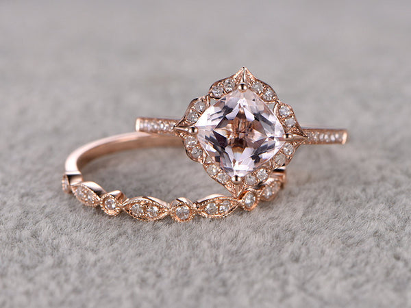 Custom order for a special customer:6mm cushion cut moissanite engagement ring,art deoco wedding band,size 5.75,14k rose gold.