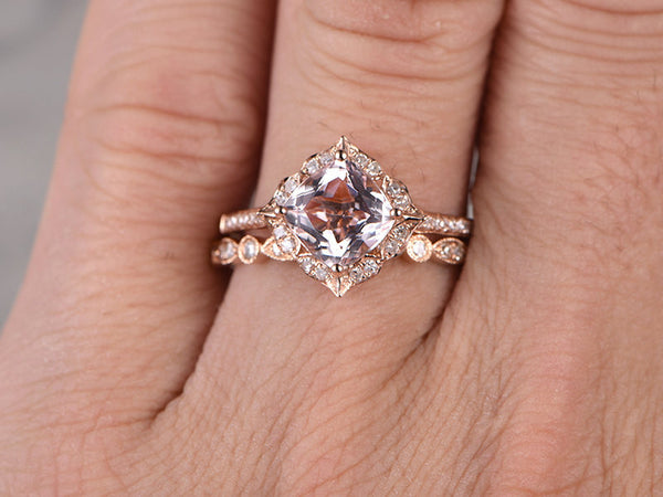 Rose gold 1 carat Morganite Bridal Ring Set,Retro Vintage Floral,Art Deco 2pcs