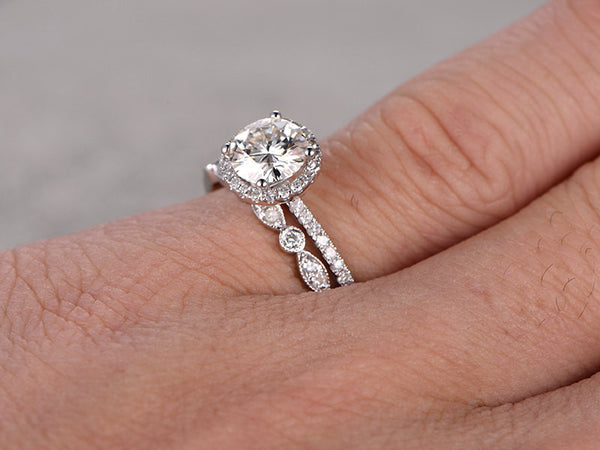 1ctw Moissanite Wedding Ring Set,Moissanite Engagement ring White gold,Art Deco Diamond wedding band,14k,6.5mm Round Cut